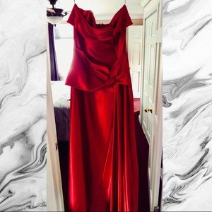 Silky red strapless prom dress